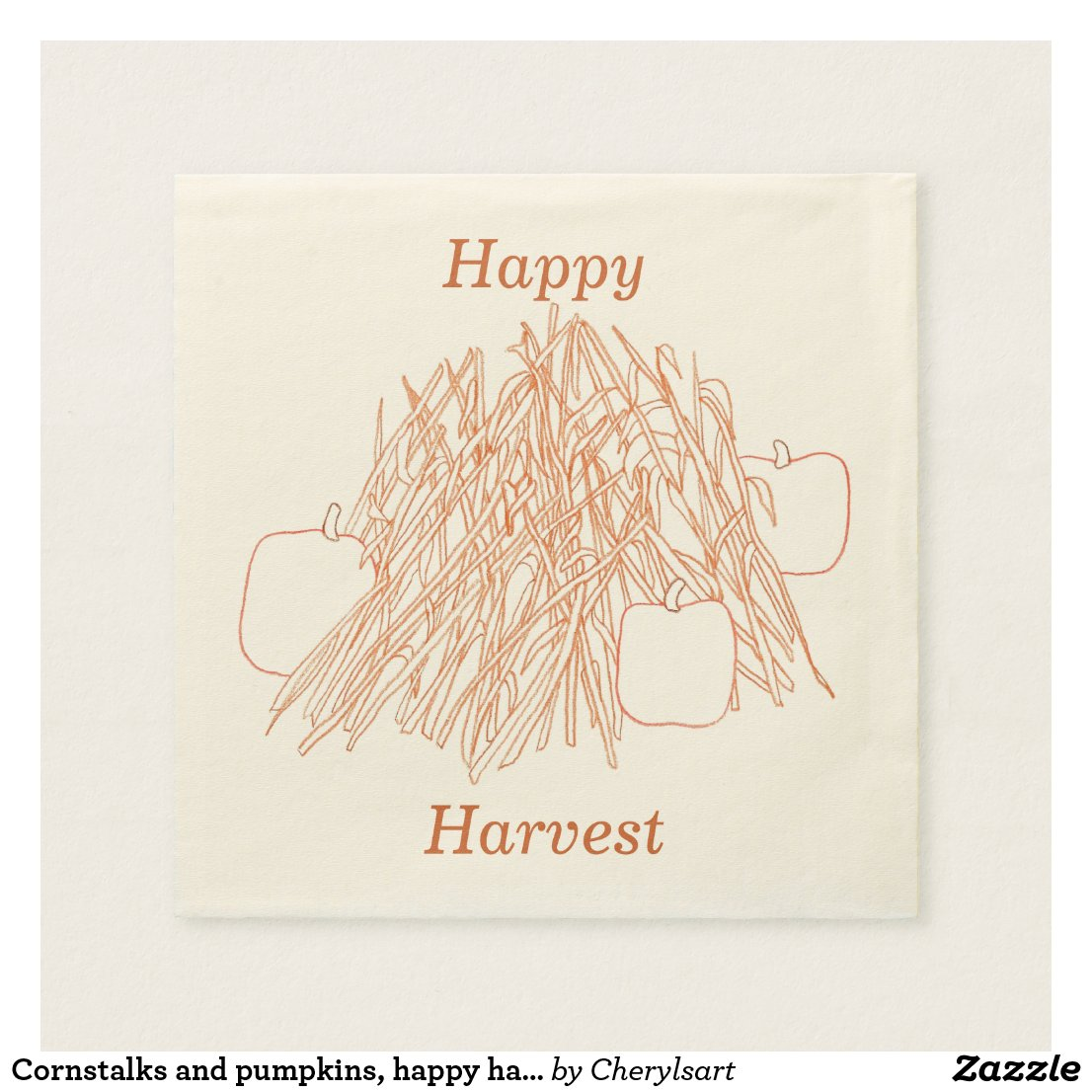 Cornstalks and pumpkins, happy harvest napkins