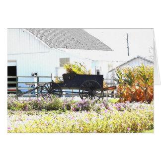 Cornstalks en un lápiz del Carro-Color del corral Tarjeta Pequeña