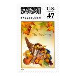 Cornucopia and foliage Thanksgiving Postage