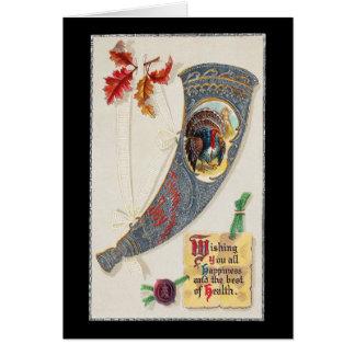 Cornucopia con acción de gracias del vintage de tarjeta de felicitación