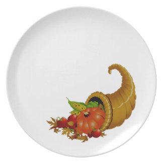 Cornucopia/cuerno del blanco de la abundancia plato