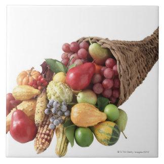 Cornucopia de la fruta y de las verduras azulejo cuadrado grande