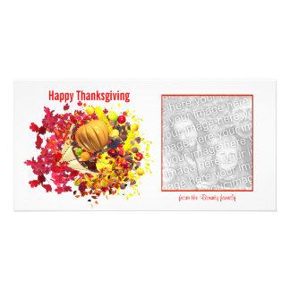 Cornucopia feliz de la acción de gracias tarjetas fotograficas personalizadas