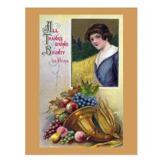 Cornucopia, Grapes and Lady Vintage Thanksgiving Postcard