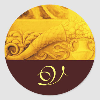 CORNUCOPIA  MONOGRAM , bright gold yellow brown Classic Round Sticker