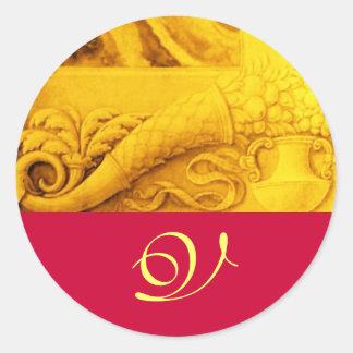 CORNUCOPIA  MONOGRAM , bright gold yellow fuchsia Classic Round Sticker