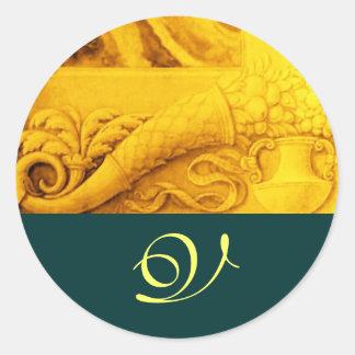 CORNUCOPIA  MONOGRAM , bright gold yellow green Classic Round Sticker