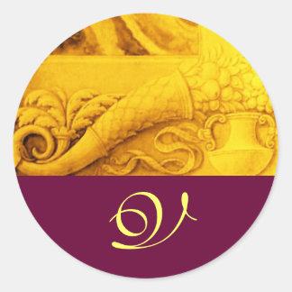 CORNUCOPIA  MONOGRAM , bright gold yellow purple Classic Round Sticker
