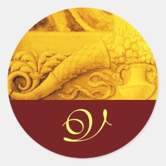 CORNUCOPIA  MONOGRAM , bright gold yellow red Classic Round Sticker