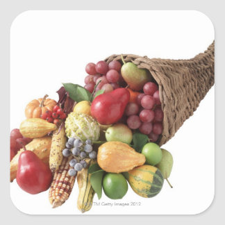 Cornucopia of fruit and vegetables square sticker
