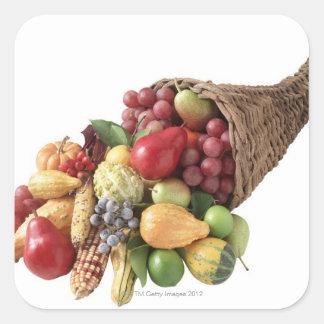 Cornucopia of fruit and vegetables square sticker