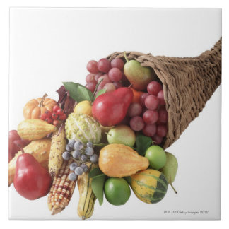 Cornucopia of fruit and vegetables large square tile
