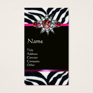 CORNUCOPIA PINK BLACK WHITE ZEBRA FUR MONOGRAM BUSINESS CARD