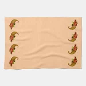 Cornucopia Row Peach Kitchen Towels