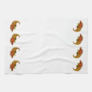 Cornucopia Row White Kitchen Towels