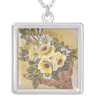 cornucopia square pendant necklace