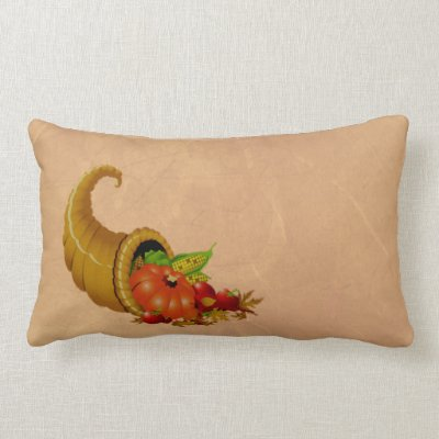 Cornucopia Thanksgiving Beige Pillow