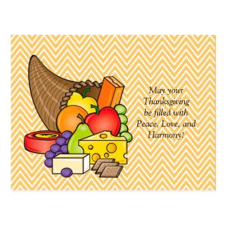Cornucopia Thanksgiving Blessings Postcard
