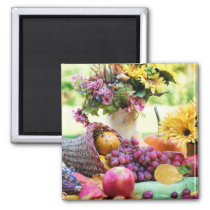 Cornucopia Thanksgiving Fall Fruit Grapes Magnet