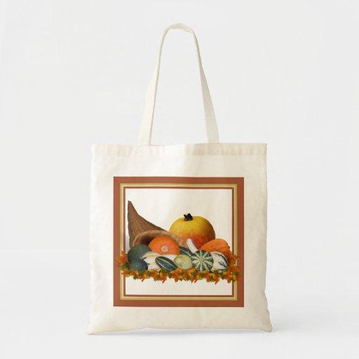 Cornucopia with Fall Gourds Budget Tote Bag