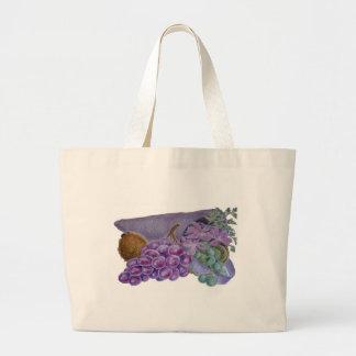 Cornucopia With Fruit And Flowers - Horn Of Plenty Canvas Bag
