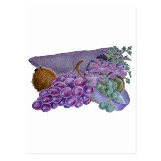Cornucopia With Fruit And Flowers - Horn Of Plenty Postcard