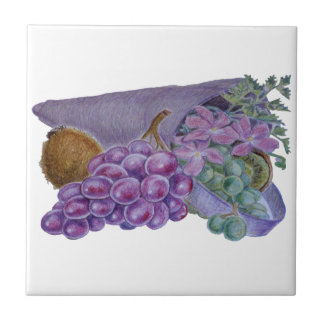 Cornucopia With Fruit And Flowers - Horn Of Plenty Ceramic Tile
