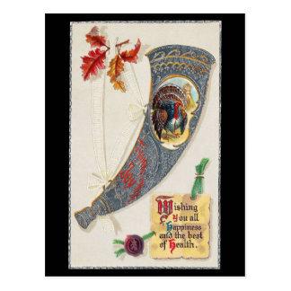 Cornucopia with Turkey Vintage Thanksgiving Postcard