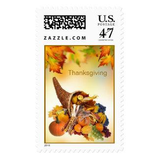 Cornucopia y franqueo de la acción de gracias del sello postal