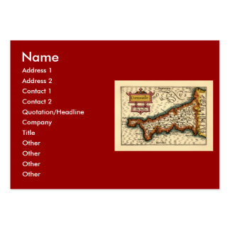 """Cornwaile"" Cornwall County Map, England Large Business Card"