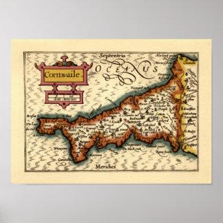 """Cornwaile"" Cornwall County Map, England Posters"