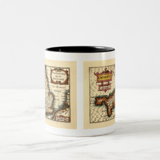 """Cornwaile"" Cornwall County Map, England Two-Tone Coffee Mug"