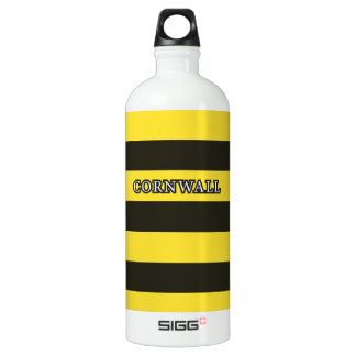 Cornwall Black and Gold Hoops Aluminum Water Bottle