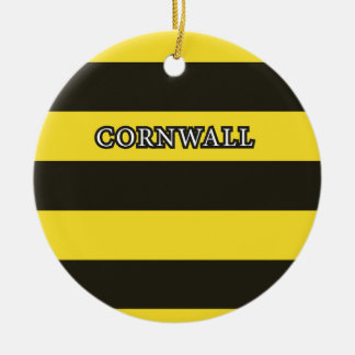Cornwall Black and Gold Hoops Ceramic Ornament