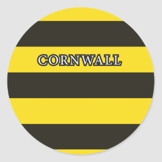 Cornwall Black and Gold Hoops Classic Round Sticker