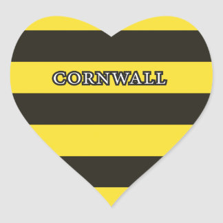 Cornwall Black and Gold Hoops Heart Sticker