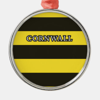 Cornwall Black and Gold Hoops Metal Ornament