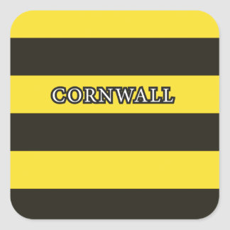 Cornwall Black and Gold Hoops Square Sticker