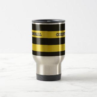 Cornwall Black and Gold Hoops Travel Mug