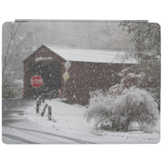 Cornwall covered bridge in blizzard iPad smart cover