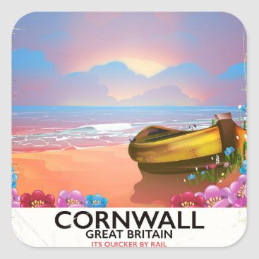 Beach Themed Cornwall fishing boat vintage travel poster square sticker