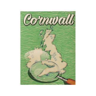cornwall map vintage travel poster