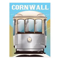 Cornwall UK vintage vacation poster print Postcard