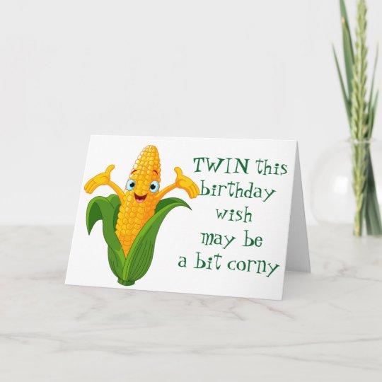 Corny Wish For Twins Birthday Card Zazzle