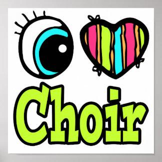 Coro brillante del amor del corazón I del ojo Póster