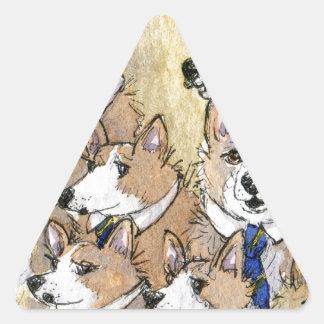 Coro del aullido del perro del Corgi Galés Pegatina Triangular