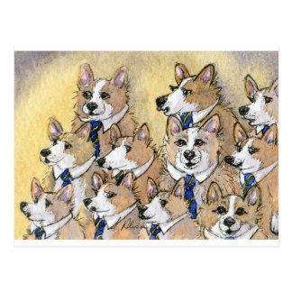 Coro del aullido del perro del Corgi Galés Tarjetas Postales