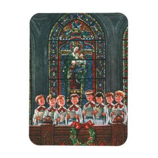 Coro del navidad del vintage en los niños de la ig imán rectangular
