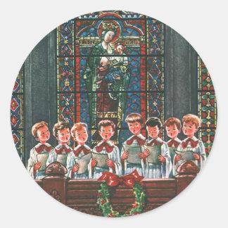 Coro del navidad del vintage en los niños de la pegatina redonda