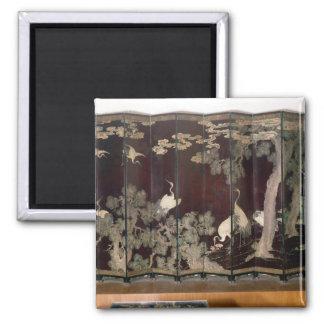 Coromandel screen depicting cranes magnet